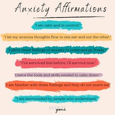 The key to learning how to manage anxiety is to learn how to change your anxious thought patterns – and you guessed it, it starts with anxiety affirmations. With the right affirmations for anxiety, you can ease your anxiety attacks before they even turn into one. But how do overcome anxiety with affirmations and mantras? Rest be assured; we've got you covered with the best affirmations and mantras for anxiety or whenever you're on the verge of an attack. Mantras For Anxiety, Affirmations For Anxiety, Positive Affirmations, Health Warrior, Mental Health Resources, Anxiety Panic Attacks, Understanding Anxiety, Healthy Mind And Body, Self Improvement Tips