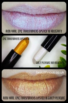 Two of the new Avon mark. Epic Transforming Lipstick shades worn alone. These lipsticks can be worn alone or over the top of other shades to create brand new ones. Check out my blog post for swatches of them over the new summer shades of the Epic Lipstick!