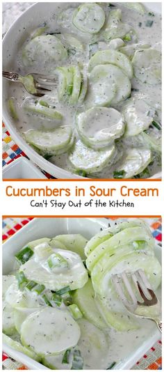 Sour Cream Cucumbers in Sour Cream - my family uses thinly sliced red onions,red wine vinegar and no dill. Old Austrian recipe.Cucumbers in Sour Cream - my family uses thinly sliced red onions,red wine vinegar and no dill. Old Austrian recipe. Sour Cream Cucumbers, Creamed Cucumbers, Cucumber Salad Sour Cream, Vinegar Cucumbers, Marinated Cucumbers, Cucumber Recipes, Vegetable Recipes, Recipes With Dill, Recipes Using Sour Cream
