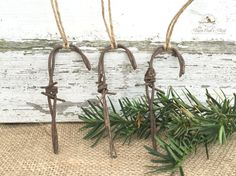 Country Farmhouse Chic Barbed Wire Candy Cane Christmas Ornament Set  Nothing says country like rusty barbed wire, and nothing says Christmas