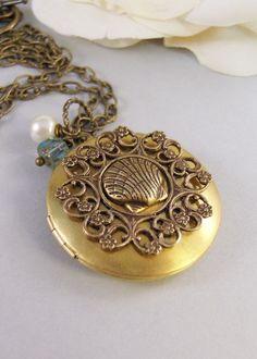Mermaids Amulet,Locket,Aquamarine,Brass Locket,Brass Necklace,Mermaid,Shell,Pearl,Antique Locket. Handmade jewelry by valleygirldesigns.