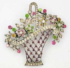 sterling Silver Flower Basket Brooch Pendant Giardinetto France   eBay