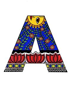 Madhubani Digital Art - Madhubani A by Archa Malhotra Madhubani Art, Madhubani Painting, Kalamkari Painting, Ancient Indian Art, Indian Folk Art, Alphabet Art, Letter Art, Alphabet Design, Coffee Artwork