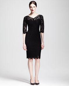 Dolce & Gabbana Half-Sleeve V-Neck Lace Dress - Bergdorf Goodman