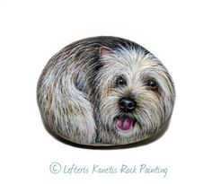 A Small Yorkshire Terrier Dog Portrait Painted on por RockArtAttack