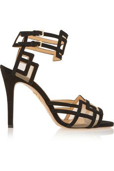 Charlotte Olympia Between The Lines suede and mesh sandals | NET-A-PORTER