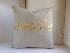 SMILE Pillow Cover - pillow case 40x40 cm (ca. 16x16 in), oatmeal jeans fabric with gold letters applique, zipper