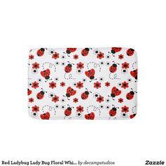 Red Ladybug Lady Bug Floral White Spring Flowers Bath Mat