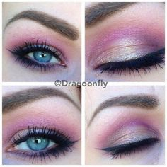 : Pink and gold makeup for blue eyes