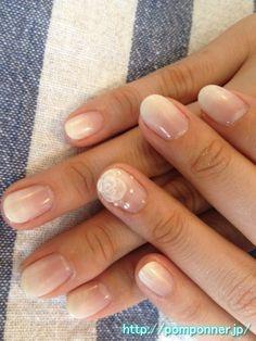 Pearl white nail color gradation