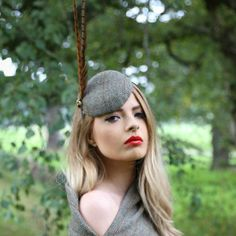 Harris Tweed Pill Box Hat/Fascinator with Pheasant Feathers by CJMillinery | eBay