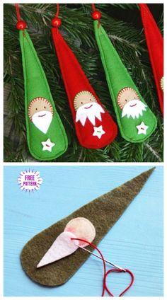 Christmas Craft: DIY Last Minute Santa Ornaments Free Sew Patterns & Tutorials