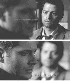 """Dean + Cas: """"And the worst part was Dean. Trying so hard to be loyal. With every instinct telling him otherwise.""""  #spn"""
