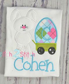Easter Bunny Wagon with Egg Applique Shirt or BodySuit = Personalized SAMPLE SALE