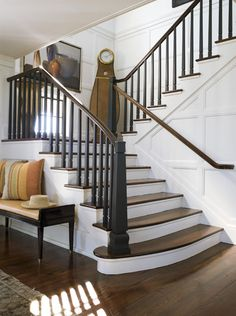 great contrast of walnut floors and white paneled walls. great contrast of walnut floors and white paneled walls. Staircase Molding, Stairs Trim, Entry Stairs, Stair Railing, Staircase Design, Railings, Interior Staircase, Stair Redo, Black Staircase