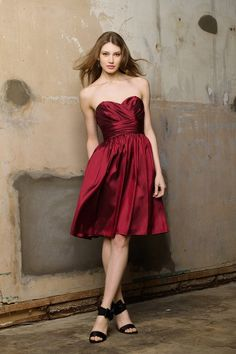 For a bridesmaid dress if my wedding was in the fall or the winter I would probably go with red. I love this deep red and it's short enough to where girls can wear it again.