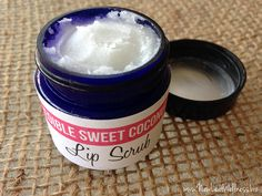 Edible sweet coconut lip scrub. Only two ingredients and really easy to make. Scrubs off dry skin, moisturizes, and smells and tastes great!