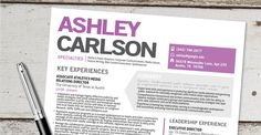 summary set apart in colored box with profile in script font (appropriately) -- The Ashley: The 41 Best Resume Templates Ever