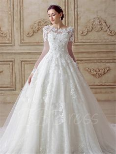 sequins appliques long sleeve wedding dress tbdress Long Sleeve Wedding Dresses Wedding Ideas - CowlesNCP ~ Make your Wedding Ideas Wedding Dress Sleeves, Long Sleeve Wedding, Cheap Wedding Dress, Tulle Wedding, Gown Wedding, Princess Wedding Dresses, Dream Wedding Dresses, Bridal Dresses, Women's Dresses