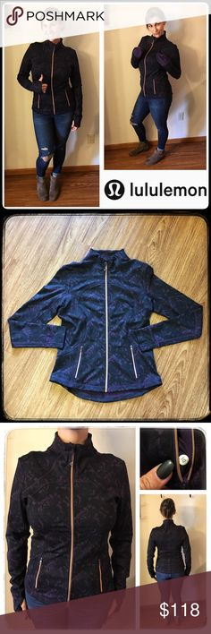 """Lululemon Athletica Baroque Define Forme II Jacket Deep purple and black baroque """"Forme II"""" full zip jacket with rose gold zipper with logo zipper pull & zipper pockets. Interior slip pockets on backside of zipper pockets. 4-way stretch luon fabric, fold over cuffins (cuff mittens) with thumb holes, hip-length slim fit. Size 10 dot inside zipper pocket. Flat measurements: 18.75"""" across bust, 25"""" long. Material tag has been removed. Smoke/pet free home. lululemon athletica Tops Sweatshirts…"""