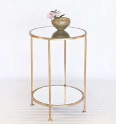 Details About Luxury Small 2 Tier Gold Leaf Bedside Table With Mirror Top