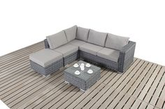 http://www.bonsoni.com/bonsoni-small-corner-sofa-colour-grey-consists-of-two-modular-two-seater-sofas-and-a-footstool-rattan-garden-furniture  The set also comes with a glass topped coffee table. As pictured the set comes with thick seat cushions and pillow style back cushions for added comfort.  http://www.bonsoni.com/bonsoni-small-corner-sofa-colour-grey-consists-of-two-modular-two-seater-sofas-and-a-footstool-rattan-garden-furniture