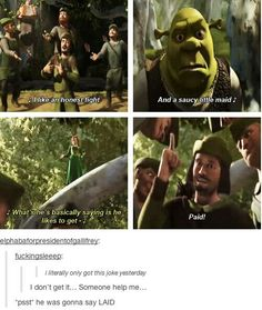 32 Hilarious Shrek Memes - We share because we care. A resource for sharing the latest memes, jokes and real stuff about parenting, relationships, food, and recipes Shrek Memes, Funny Memes, Memes Humor, Funny Cute, The Funny, Crazy Funny, Pixar, Comedy, Disney Memes
