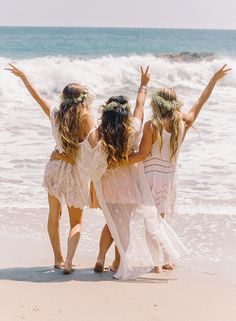 Bridesmaids & flower girls for rehearsal dinner on beach