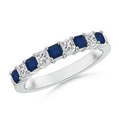 Blue Sapphire and Diamond Semi Eternity Classic Wedding Band http://www.angara.com/p/square-blue-sapphire-and-princess-diamond-half-eternity-band-wrgd-sr0702sd.html