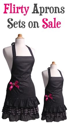 Flirty Aprons Sets on Sale! {$24.95+} ~ look super-cute in the kitchen, or stash away a fun gift! #apron #thefrugalgirls
