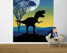 Roar of the T Rex Navy  Pre Pasted  - Wall Sticker Outlet