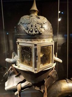 "kompanie-mutter: "" beakedwhalesyo: "" sixpenceee: "" ""Helmet of a German flamethrowing soldier, WW1″ Posted by reddit user Priamosish "" @kompanie-mutter "" aesthetic as hell "" @gasmaskbunker"