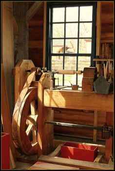Vintage Wood Lathe | Wood Lathe in new carpenter shop in 1836 Prairie Town at Conner Prairie living history museum