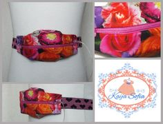 Bright floral insulin pump belt with pink and black by KaijaSofia