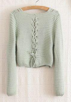 Green Plain Hollow-out Long Sleeve Wool Blend Sweater
