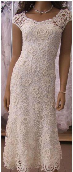The Secret to Crochet Lace Wedding Dress Pattern - Beau Crochet, Mode Crochet, Irish Crochet, Crochet Lace, Thread Crochet, Crochet Wedding Dresses, Wedding Dress Patterns, Crochet Dresses, Crochet Wedding Dress Pattern