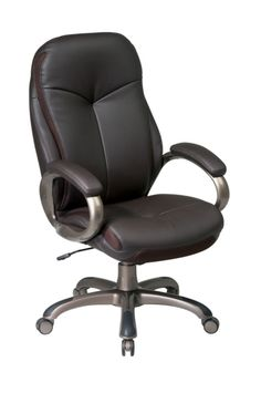 Office Star Executive High Back Espresso Eco Leather Chair with Locking Tilt Control and Cocoa Metal Base-, Brown Best Office Chair, Home Office Chairs, Conference Room Chairs, Office Star, Office Furniture Stores, Ergonomic Office Chair, Office Seating, Metal Chairs, Leather Chairs