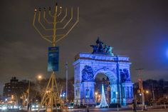 Grand Army Plaza ~ See the 32 ft. high Hanukkah menorah at the entrance to Brooklyn's Prospect Park.