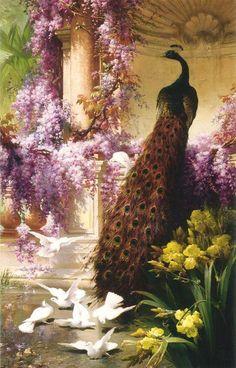 """Eugene Bidau, """"A Peacock and Doves in a Garden"""" (1888)"""