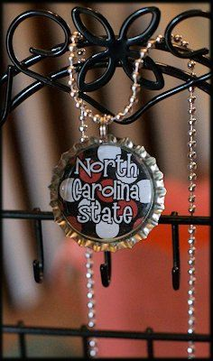 NC State Bottle Cap Necklace....Wolf Pack Fans by MegollyDesigns, $3.00