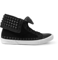 Jimmy Choo Spencer Rubber-Studded Leather High Top Sneakers | MR PORTER