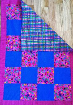 Baby/Toddler Quilt Fancy Flowers W/ Rainbow Plaid by 5thAveFibers, $40.00