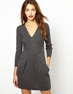 Vanessa Bruno Athé Knitted V Neck Dress with Pockets