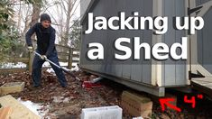Raising up a w/ a car jack and adding concrete blocks. In this series I am taking an old 10 x 14 foot pre-fab shed and making it a finished office and . Woodworking Projects Diy, Woodworking Shop, Woodworking Plans, Concrete Pad, Concrete Blocks, 800 Sq Ft House, Long Distance Movers, Moving Cross Country, Diy Home Repair