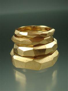 14k gold Chiseled Ring Set