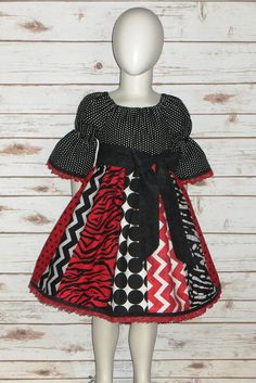 47dec2796048 Cotton Boutique Peasant Dress Christmas Holiday Red Black Infant Baby 6 12  18 24 month Toddler