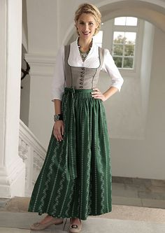 - Dirndl Outfit -  Bavarian/Austrian Traditional Female Peasant Clothing during the 17th and 18th Centuries.  Later the Austrian upper classes adopted the dirndl as high fashion in the 1870s.