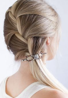 A Wise Woman Builds Her Home: Braided Feminine Hairstyle Tutorials *PLUS* Lilla Rose Weekend Sale! French Braid Ponytail, Braided Ponytail Hairstyles, Sleek Ponytail, Basic Hairstyles, Trending Hairstyles, Boho Hairstyles, Rose Braid, Cute Ponytails, Bouffant Hair