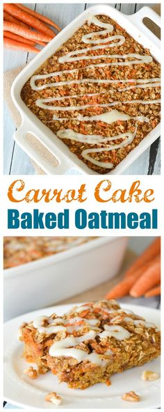 This Carrot Cake Baked Oatmeal is the breakfast version of a favorite seasonal dessert, complete with a cream cheese icing glaze. Packed with cinnamon, carrots and nuts, you'll feel like you're having dessert for breakfast!