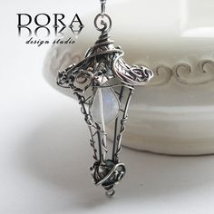 Fairy's lantern silver pendant with moonstone by DORAbluedesign